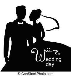 Wedding day card - Vector illustrations of silhouette of...