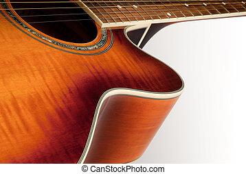 acústico, guitarra, detalle