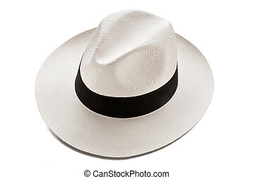panama hat model isolated over white background