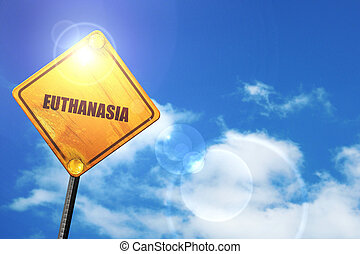 Yellow road sign with a blue sky and white clouds:...