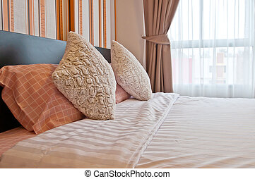 Bed in the resort,Bedroom ready for guests
