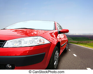 Red car - Beautiful red car on the road. Great shoot. Great...