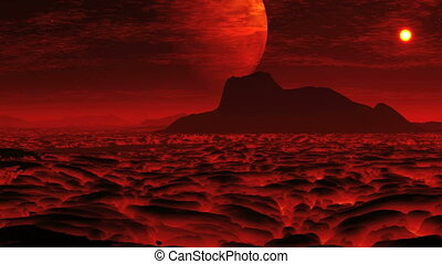 Lava on the planet of aliens and a - Fiery lava flows on the...