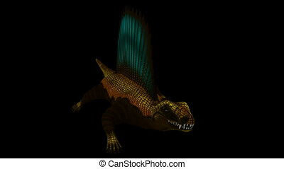Seamless Looping Dimetrodon Animation 2. Isolated on black,...