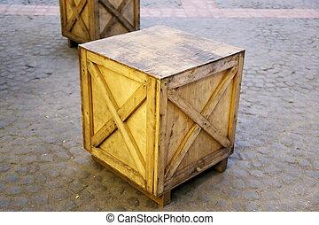 old wood cargo box on floor