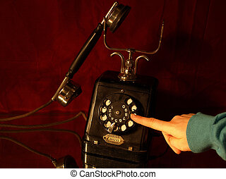 Vintage telephone - dialing a number