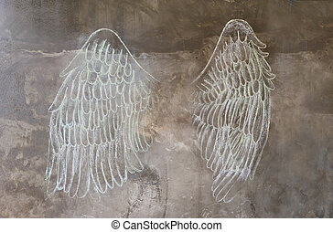 sketch chalk angle wing on wall, street art