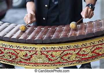 alto, jogo, xilofone, mão, madeira, tailandia