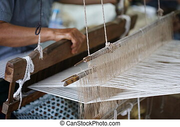 traditional Asia loom detail - Weaving, traditional Asia...