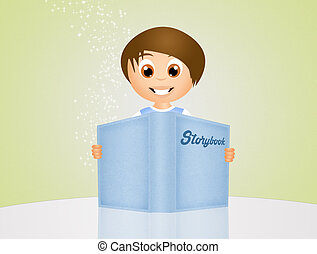 child with storybook - illustration of child with storybook