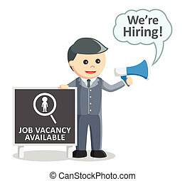 Business man job vacancy megaphone