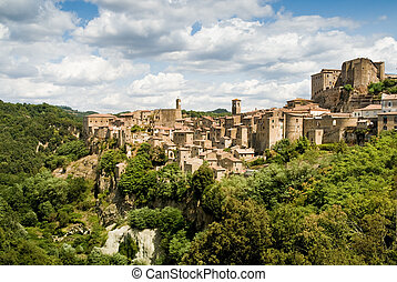 sorano, tuscany village - sorano, italy, typical village in...