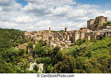 sorano, tuscany village - sorano, italy, typical village in...
