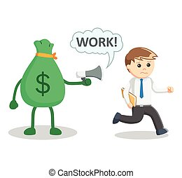 Money ensalved illustration