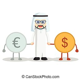 Arabic man showing money