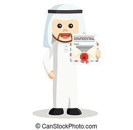 Arab man showing confidential mail