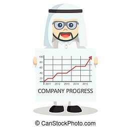 Arabic business man progress arrow
