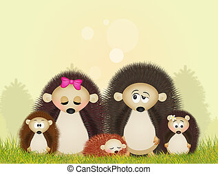 family of hedgehogs