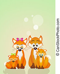 red fox family - family of red fox