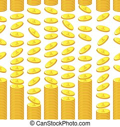 Cartoon golden store coins pattern seamless