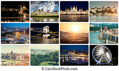 collage of different Budapest sights
