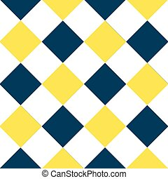 Yellow Buttercup Blue Teal White Diamond Chessboard...