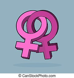 Lebian cartoon vector design. Two symbols of female sex. -...