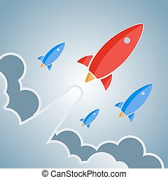 Big red and smaller blue rockets. Vector retro design elements.