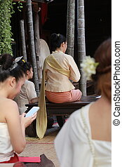 Thai women with traditional dress, Thailand