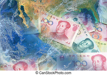 China banknote with planet world Elements of this image...