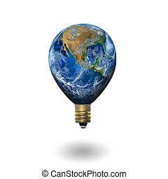 light bulbs with the earth ,including elements furnished by...