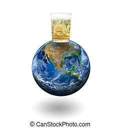 whiskey glass on the earth Elements of this image furnished...