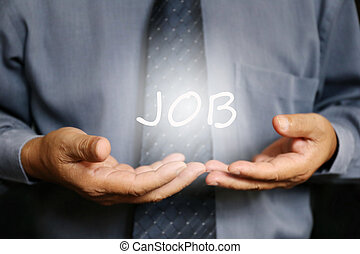 Job word on hand, businessman - Invest word on hand,...