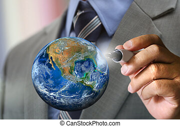 business man's hand writing, Elements of this image furnished by NASA