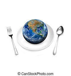 the earth on plate and spoon, including elements furnished...