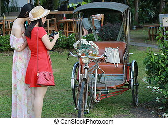 tricycle with women , Chiang Mai, Thailand - Asian style...