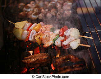 seafood bbq on charcoal brazier