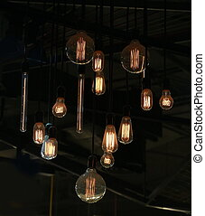 Tungsten lamps hanging from ceiling