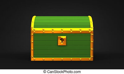 Green Treasure Chest On Black Background.