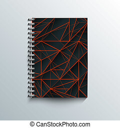 Graphic illustration. - Notepad template with abstract...