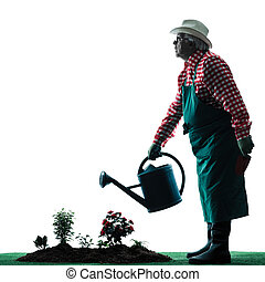 gardener man gardening isolated silhouette