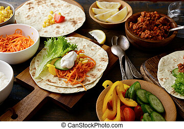 Mexican Tacos with different ingredients