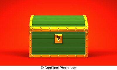 Green Treasure Chest On Red Background.