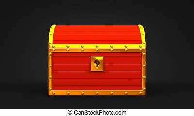 Red Treasure Chest On Black Background.