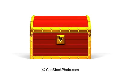 Red Treasure Chest On Black Background