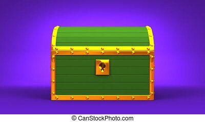 Green Treasure Chest On Purple Background.