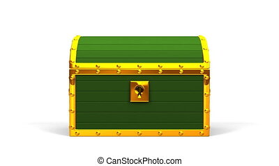Green Treasure Chest On White Background.