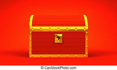 Red Treasure Chest On Red Background.