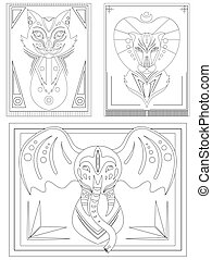 Set of linear illustrations for coloring books for adults and children. Tribal animal illustration. Ethnic patterns