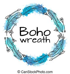 Wreath of hand drawn feathers with boho pattern and blue...